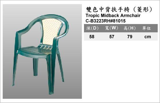 休閒家具,椅子,塑膠椅,C-B3223RH#81015,Tropic Midback Armchair,雙色中背扶手椅,菱形