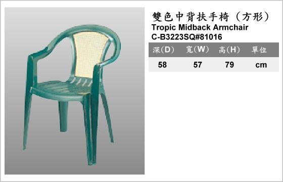 休閒家具,椅子,塑膠椅,C-B3223SQ#81016,Tropic Midback Armchair,雙色中背扶手椅,方形