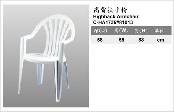 休閒家具,椅子,塑膠椅,C-HA1735#81013,Highback Armchair,高背扶手椅