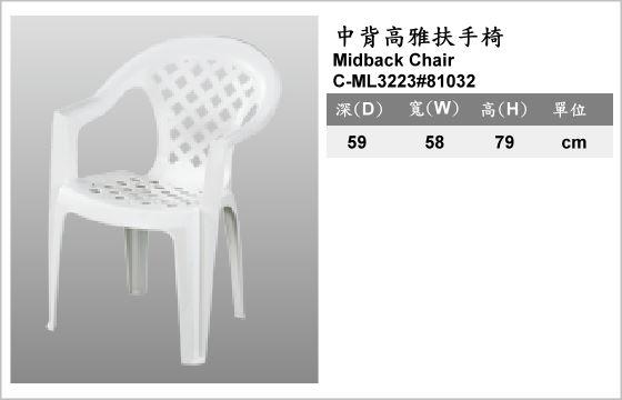 休閒家具,椅子,塑膠椅,C-ML3223#81032,Midback Armchair,中背高雅扶手椅